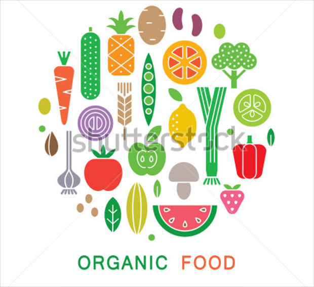 Organic Food Icons for Vegetarian Menu