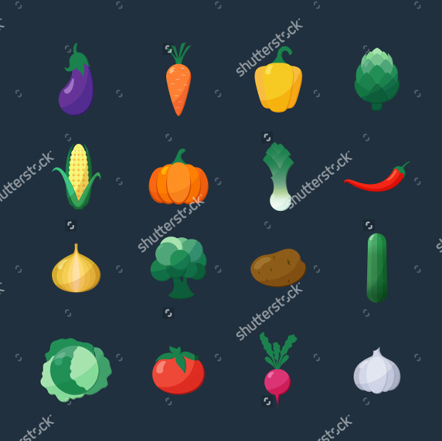 vector icons vegetables flat styles