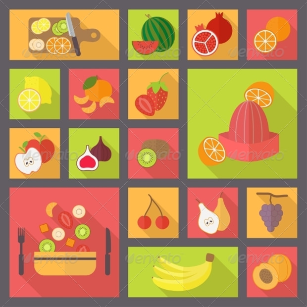 Fruits and Vegetarian Food Icons Set