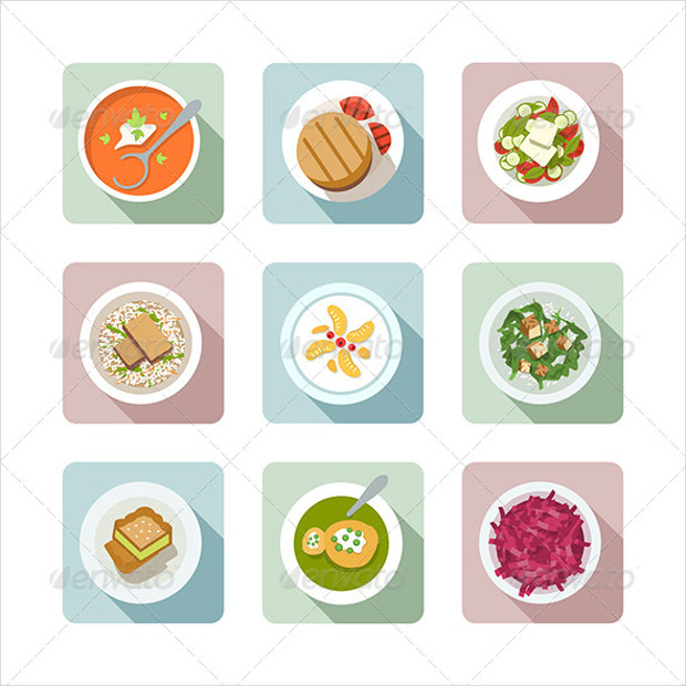 vegetarian flat icons in colors1