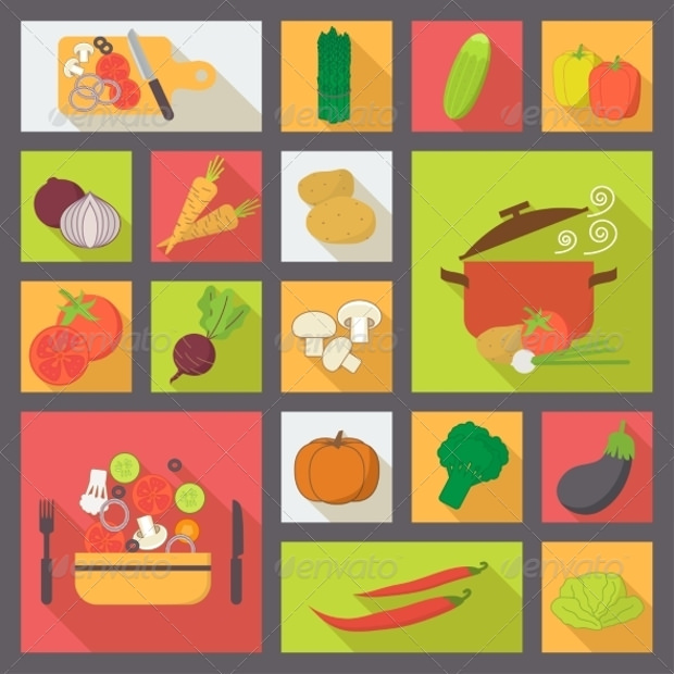 colorful vegetable icons set