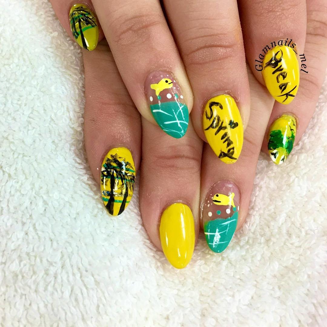 yellow colored spring nails