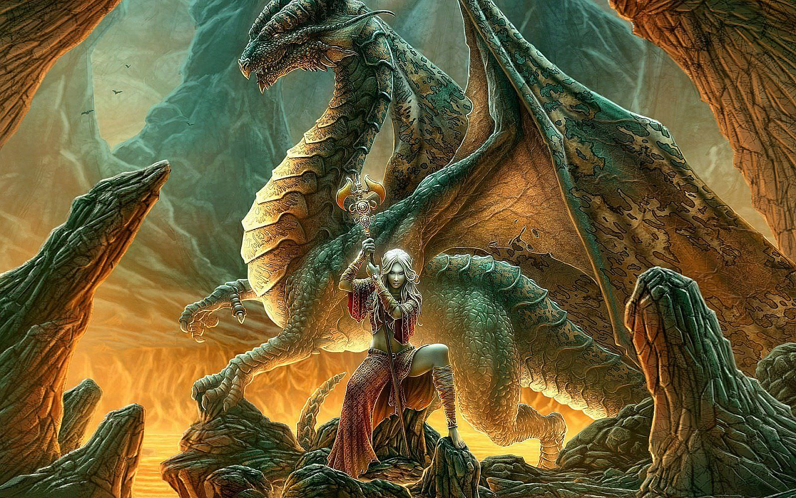 Beautiful Lady with Dragon Background