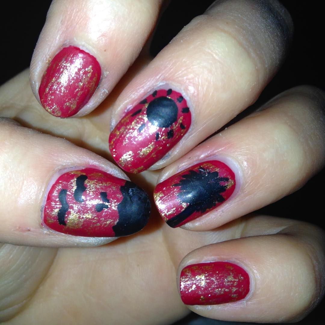 Red and Black Nail Art.