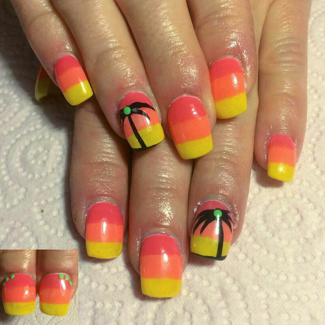Orange Beach Art on Nails.