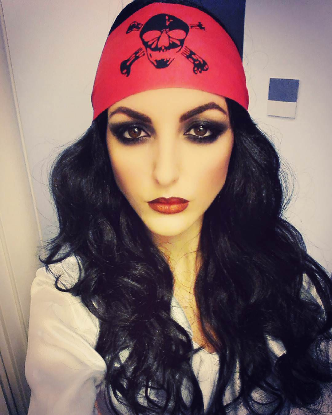 Pirate Makeup with Wavy Hair