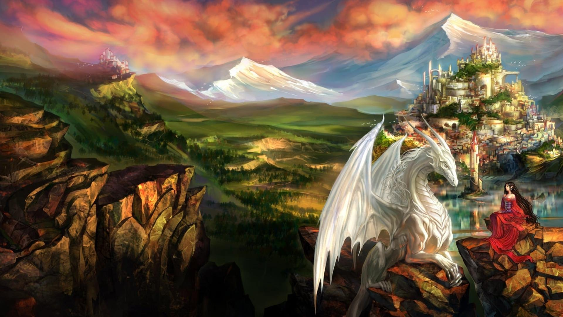 Princess Mountain Landscape with Dragon Wallpaper