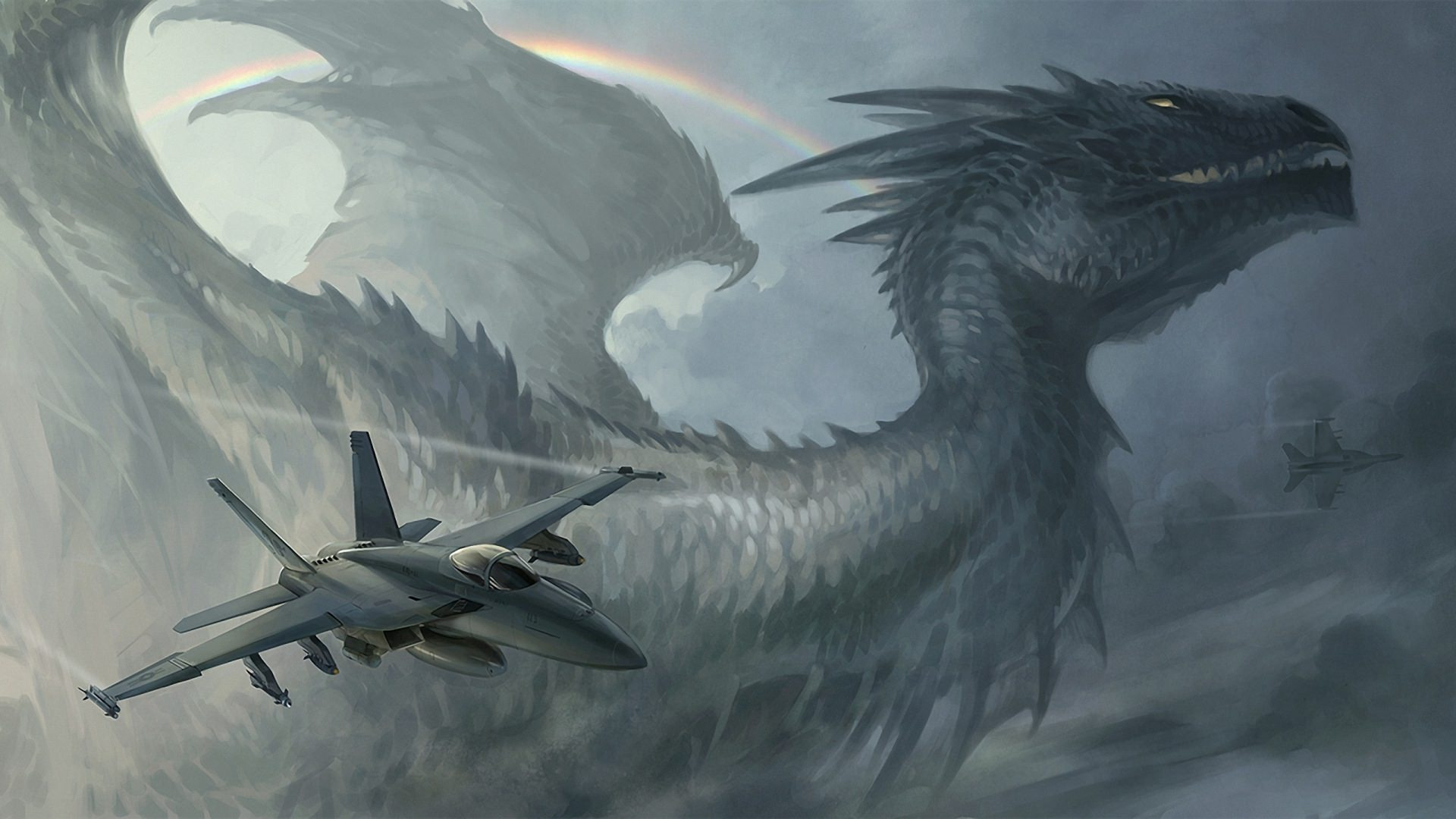 Plane with Dragon on Sky Wallpaper