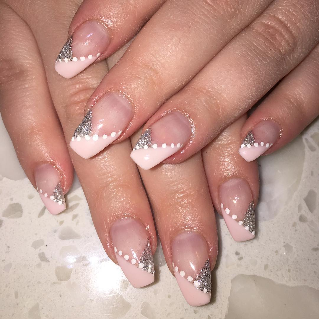 silver glitter pink nails