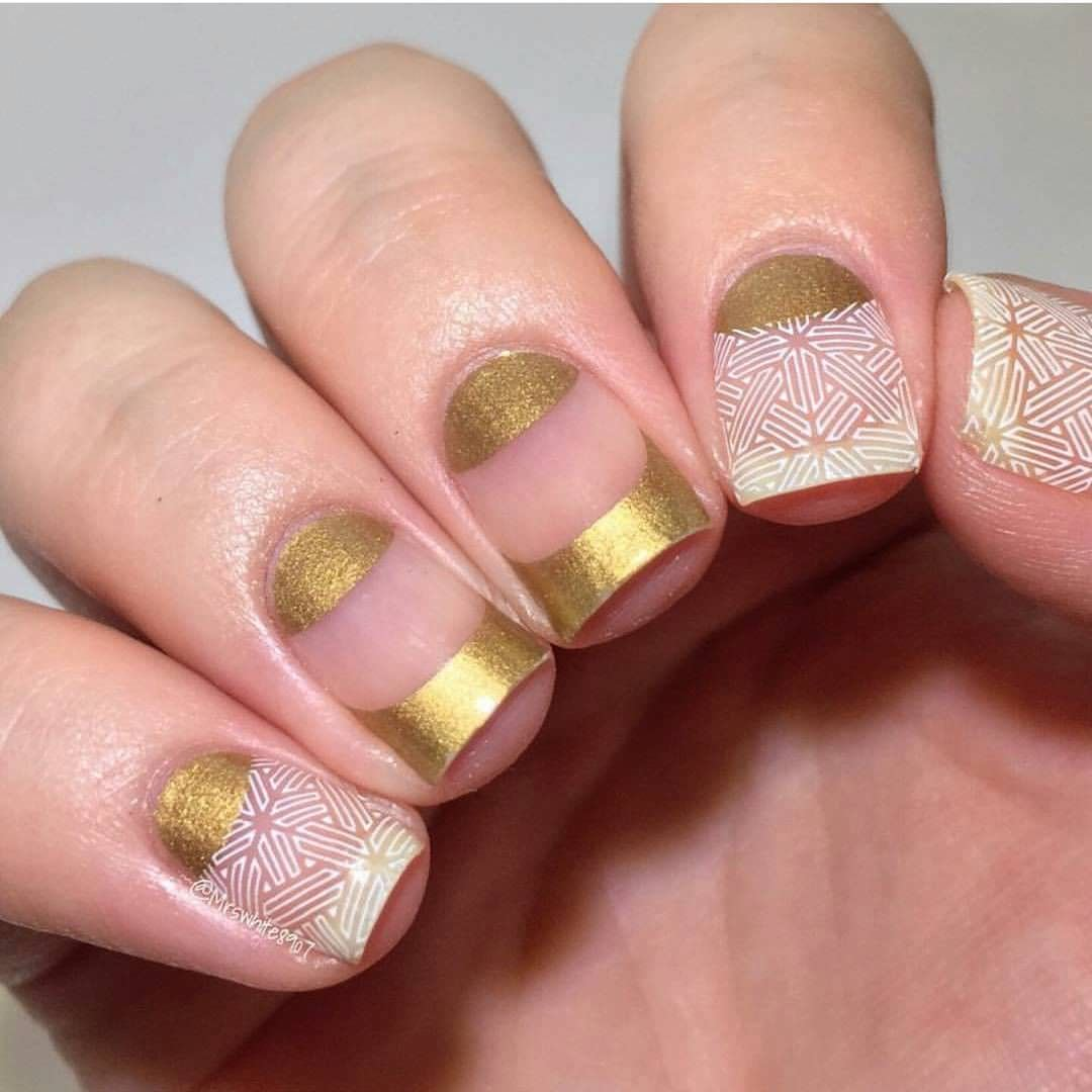 Gold and Patterned Nails