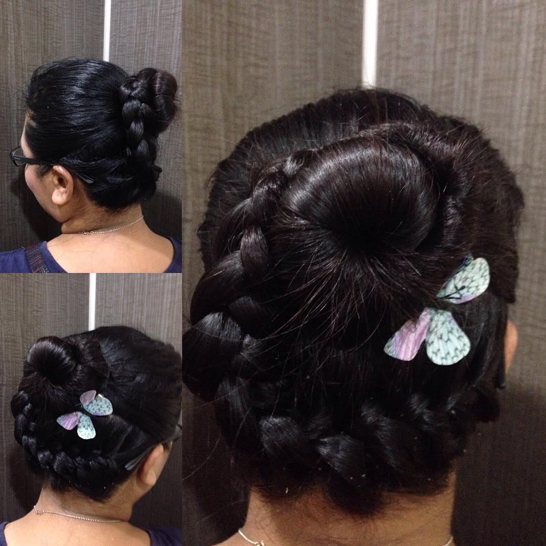 Combination of French Braid and Bun