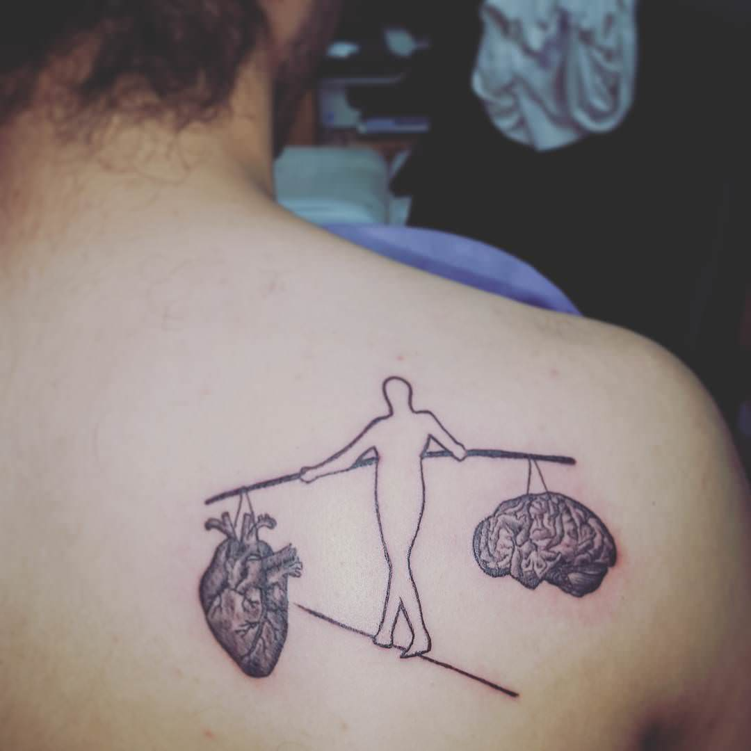 Heart & Brain Tattoo Design