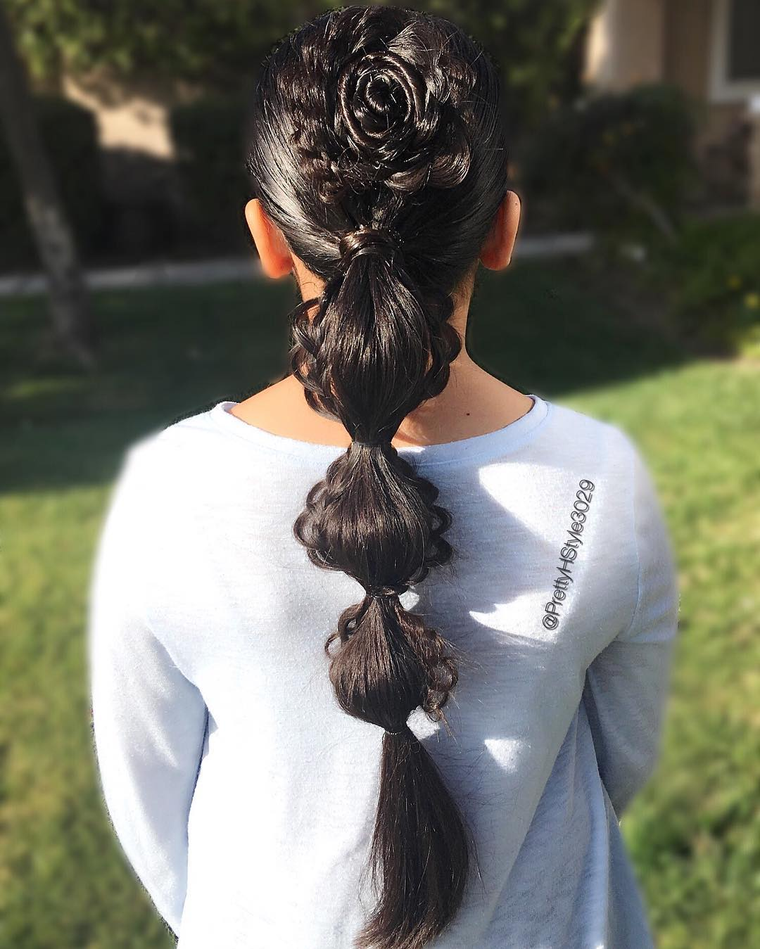 Hair Flower in Bubble Ponytail