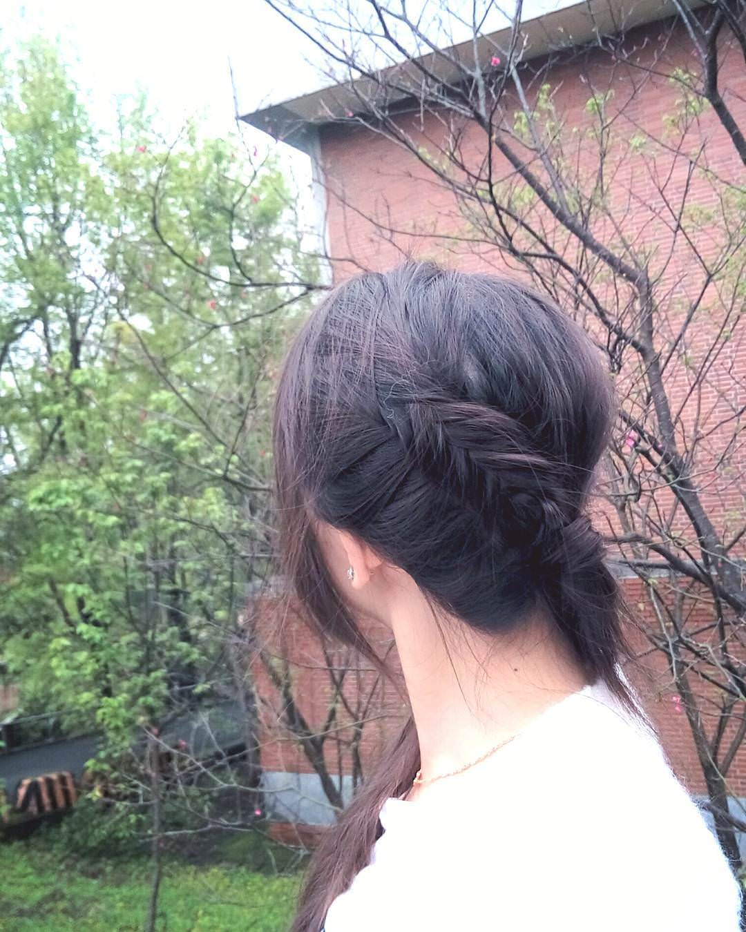 Black Fishtail and Ponytail Braid.