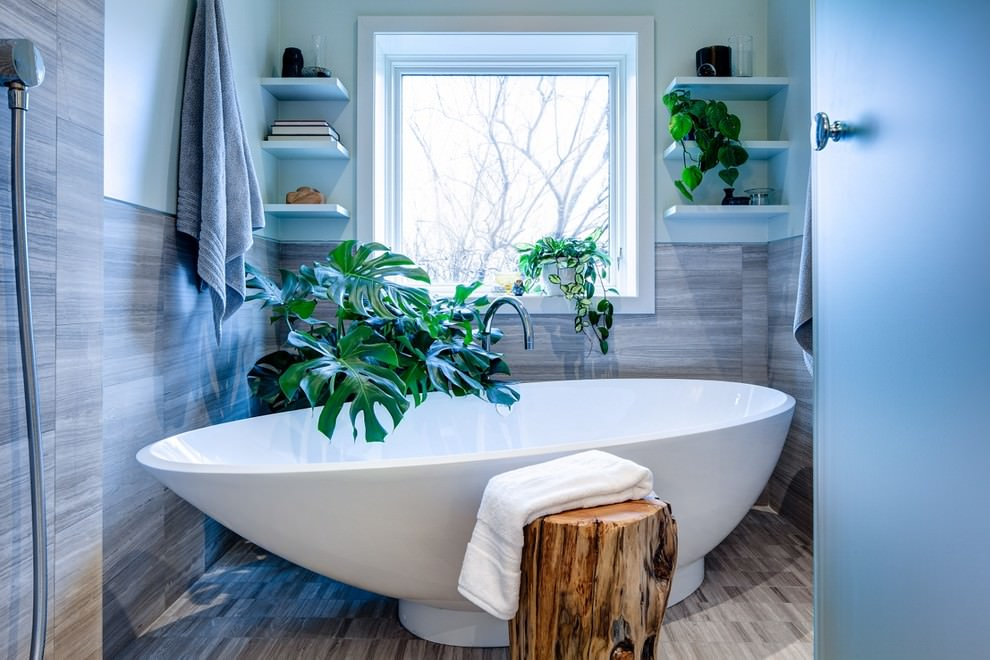 22 nature bathroom designs decorating ideas design for Corner tub decorating ideas