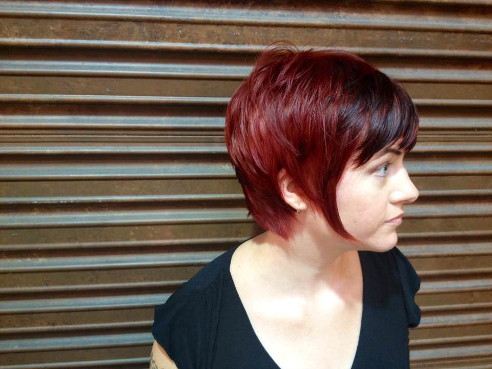 Red Colored Pixie Hair.