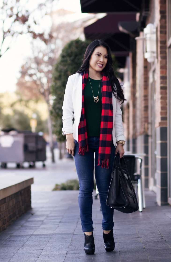 cute outfits scarf outfit plaid winter casual street buffalo blazer wear office boots ankle jeans dress light dresses fall designs