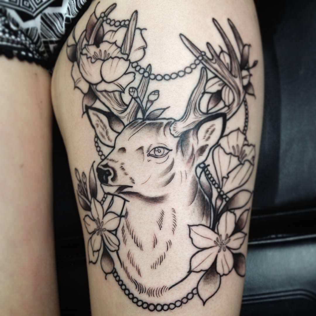Flower Tattoo Designs For Women Unique: 26+ Deer Tattoos