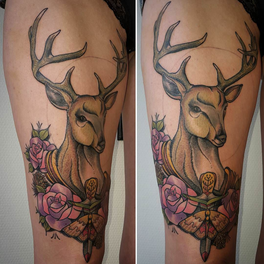 colorful deer tattoo design