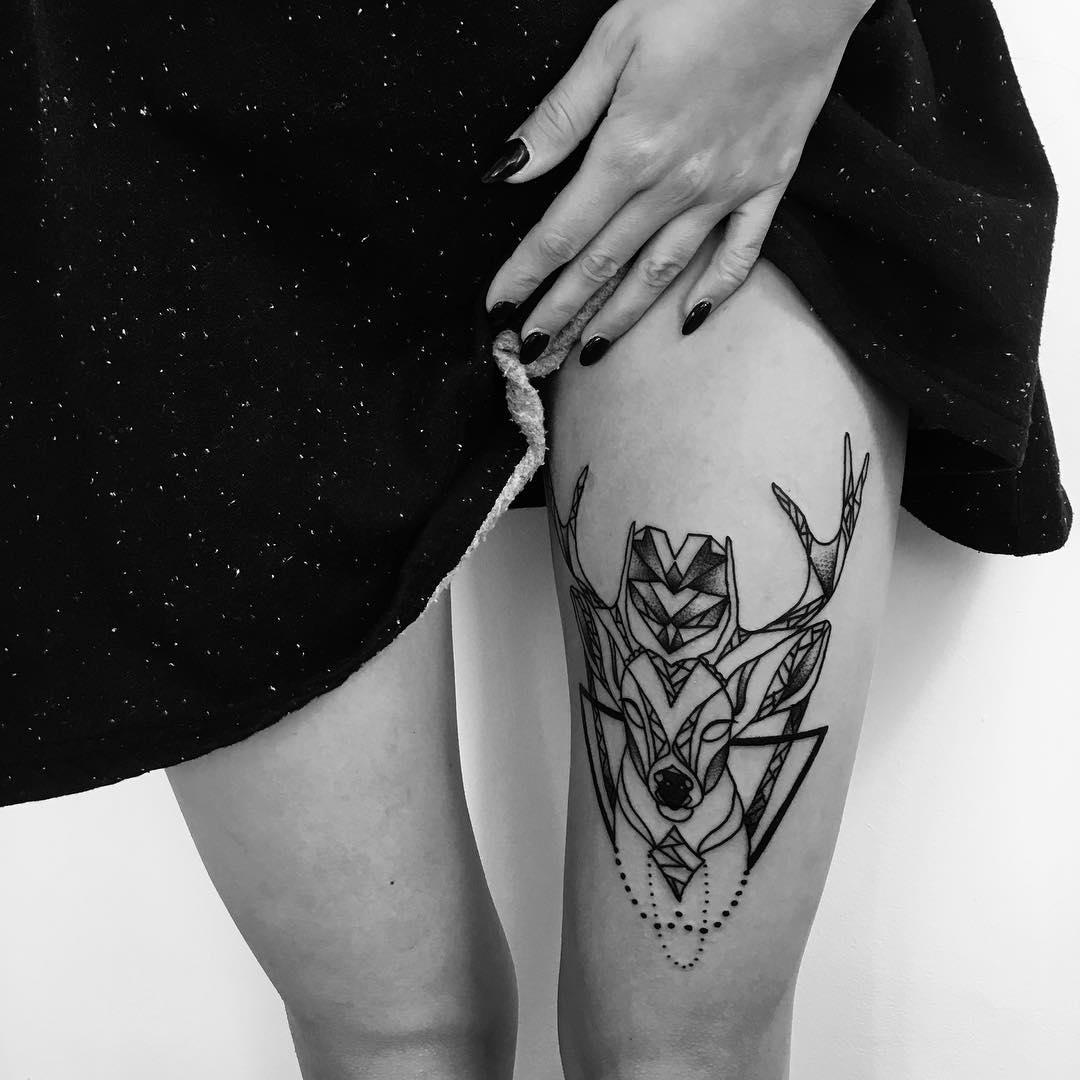 illustration style deer tattoo on thigh