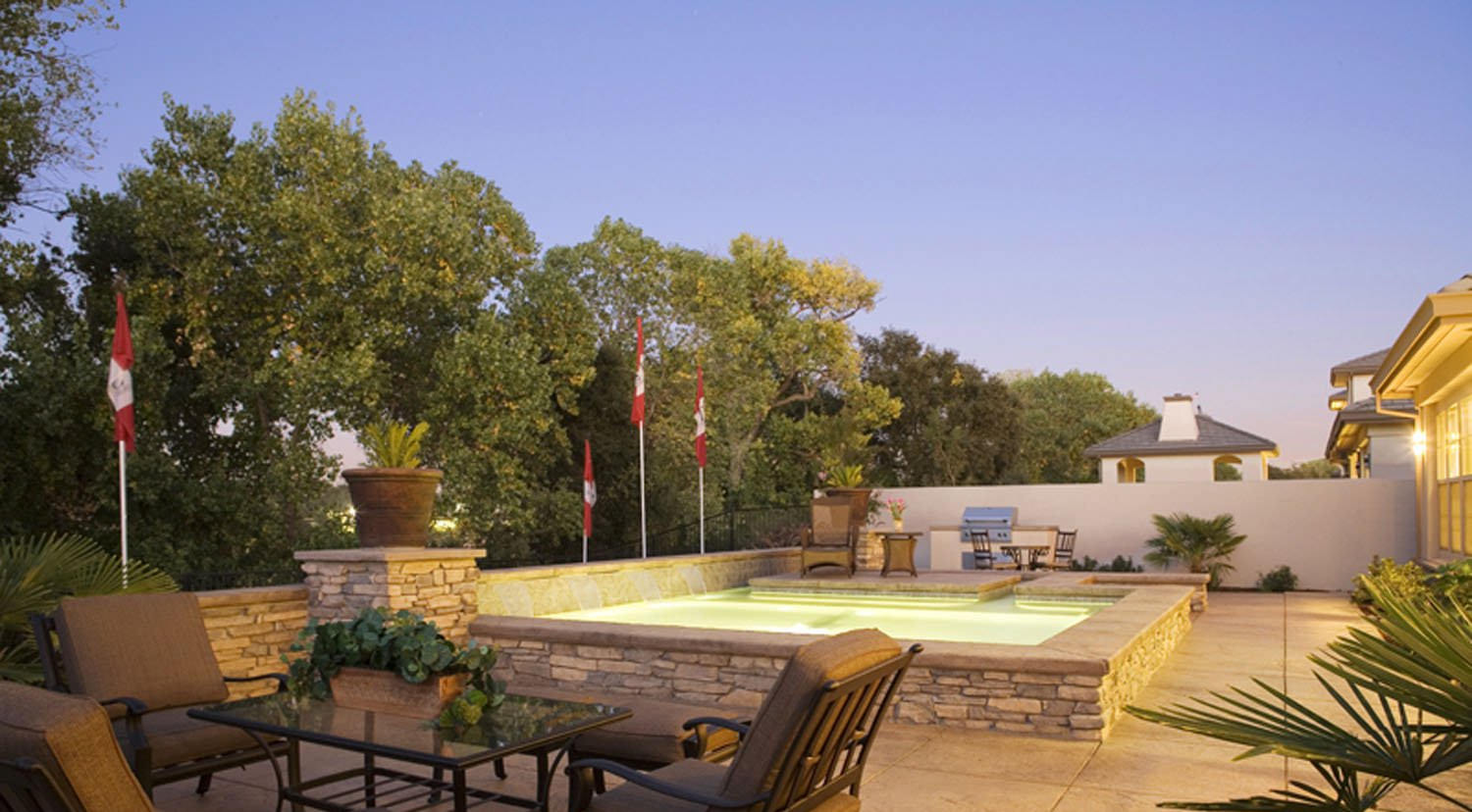 patio with small inground pool plans