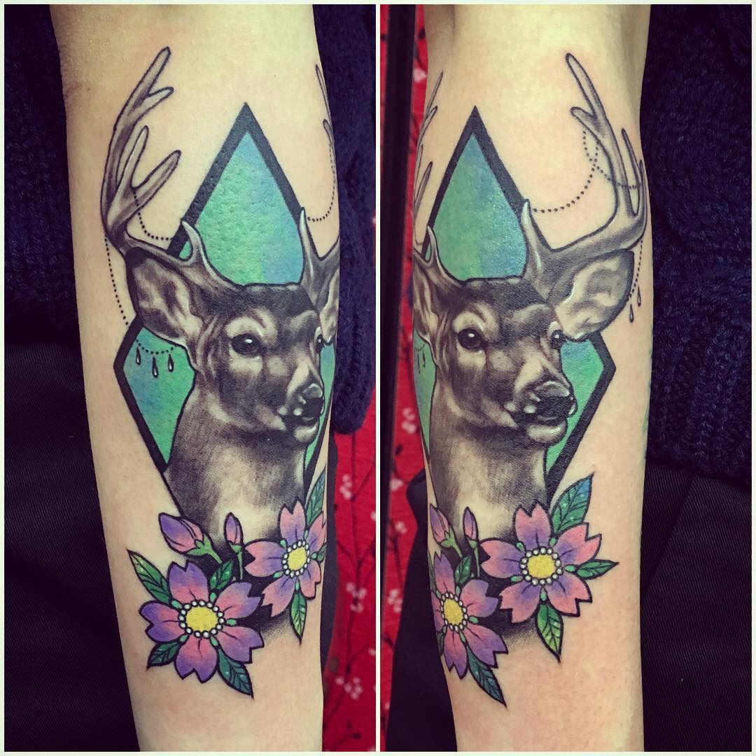 blue black deer tattoo design
