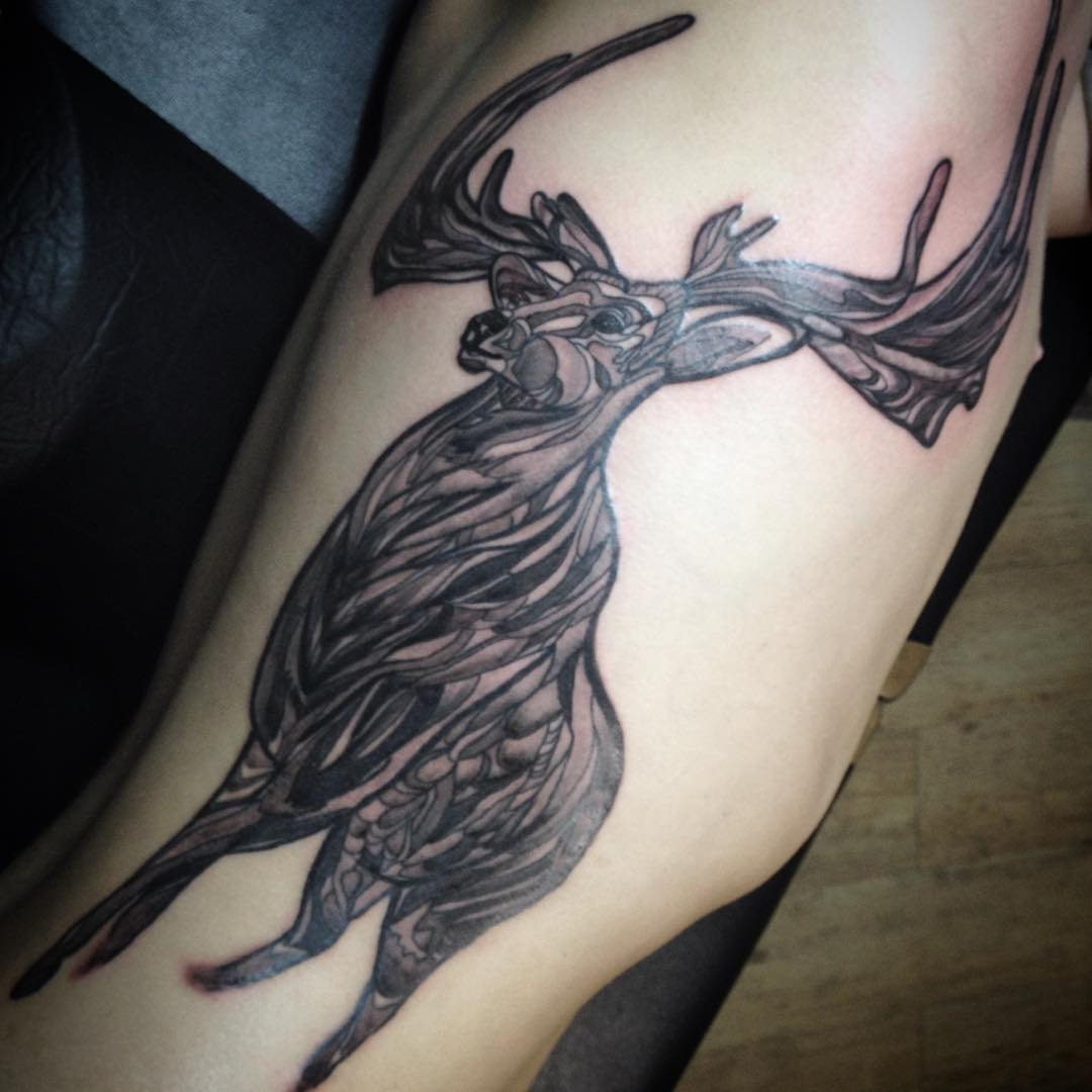 graphical deer tattoo design