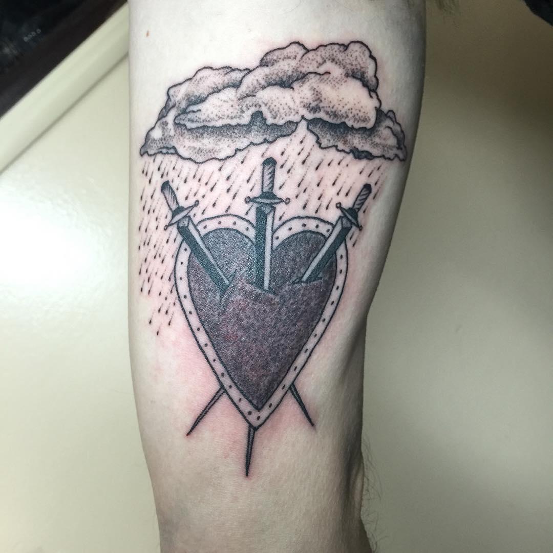 rain sword tattoo design