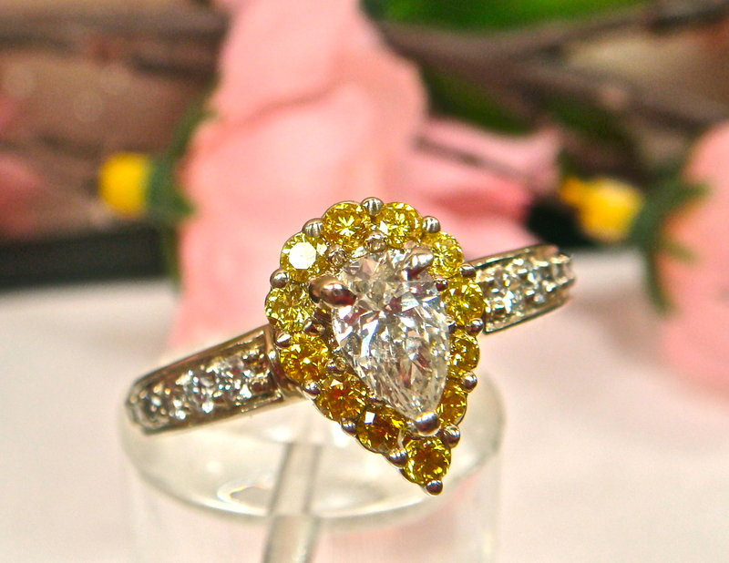 Canary and White Engagement Ring