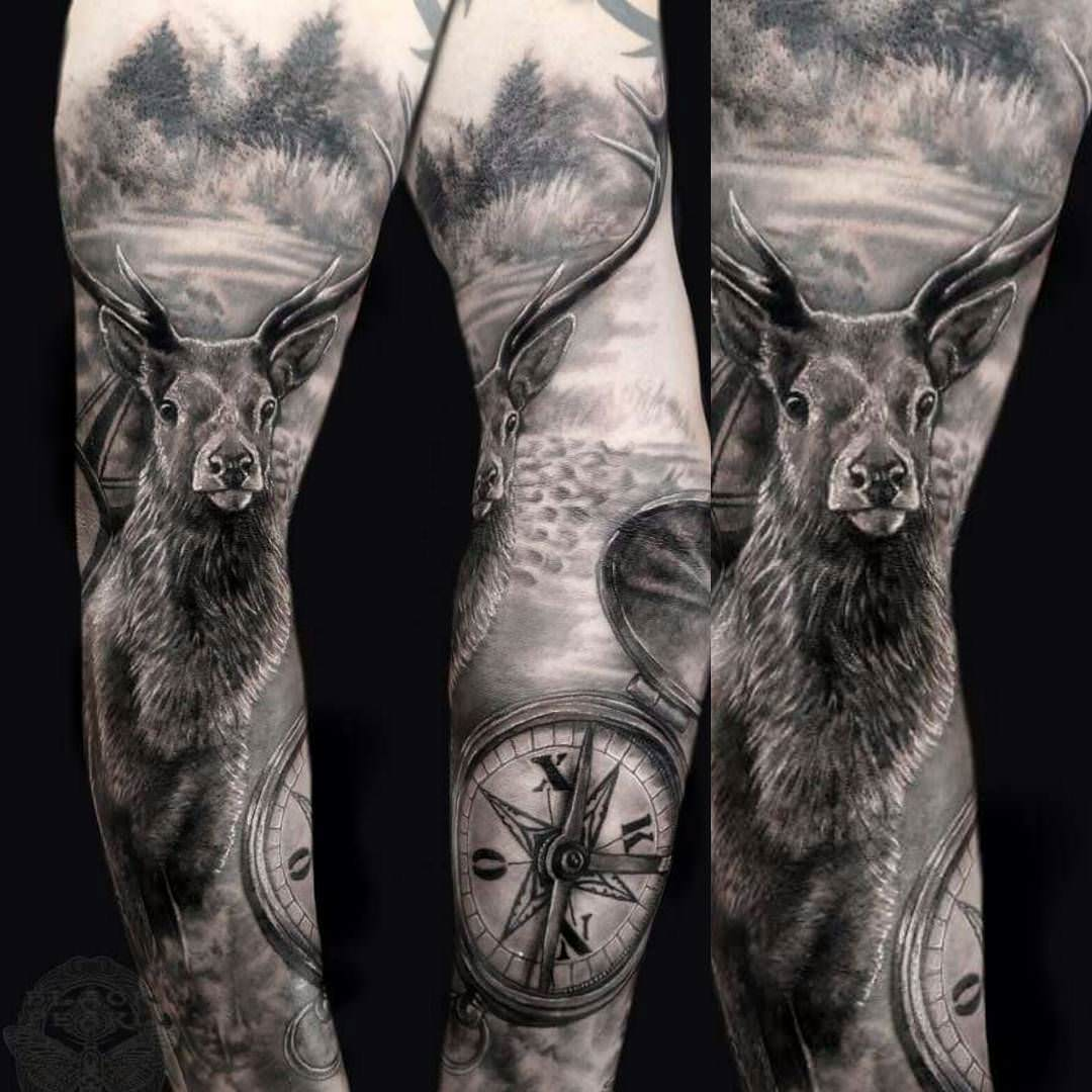 latest trendy deer tattoo