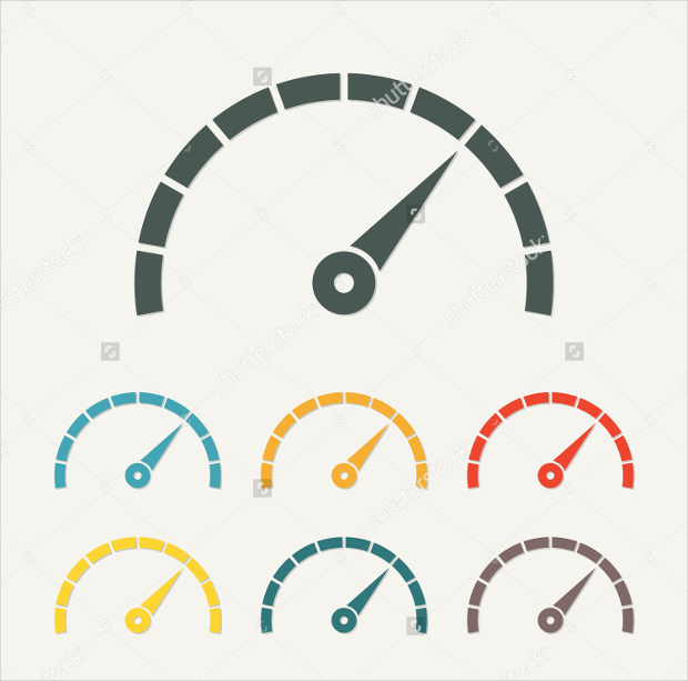 Colorful Speedometer Icons with Arrow