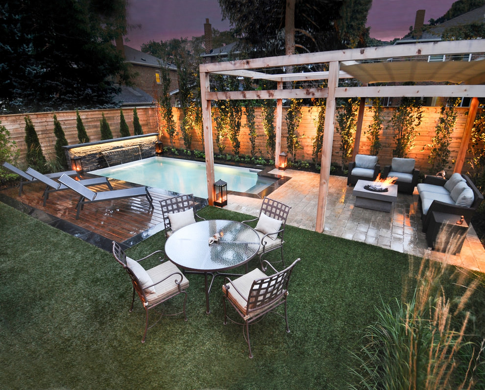 stylish patio with small pool ideas