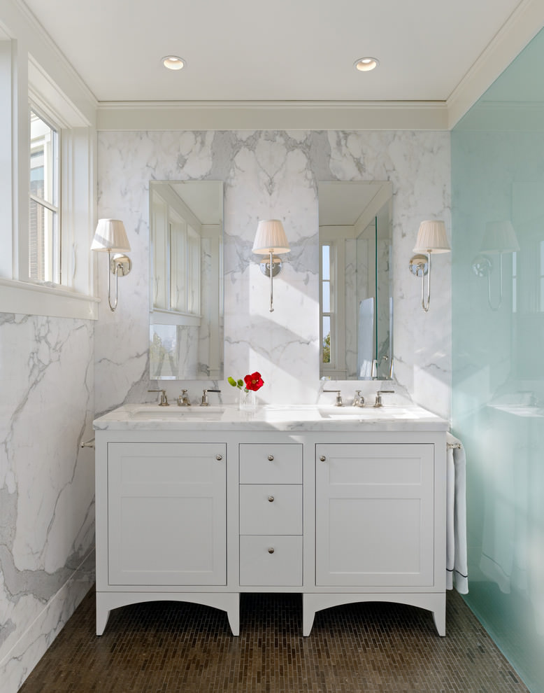 White Marble Double Vantity Ideas