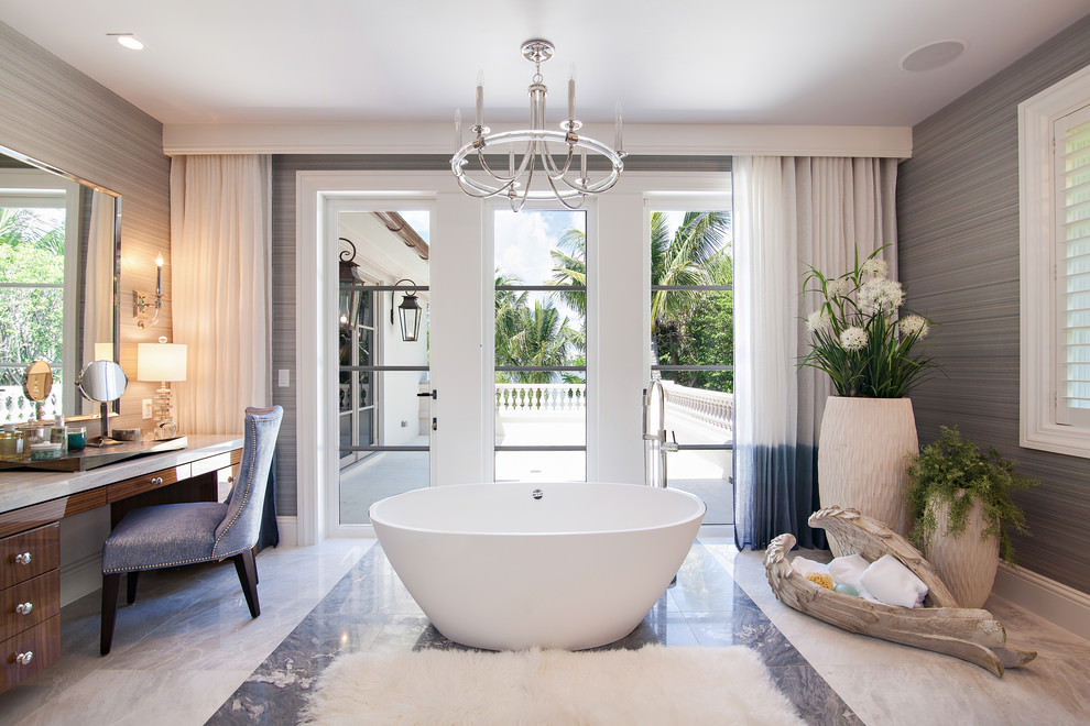White Marble Floor Bathroom Design
