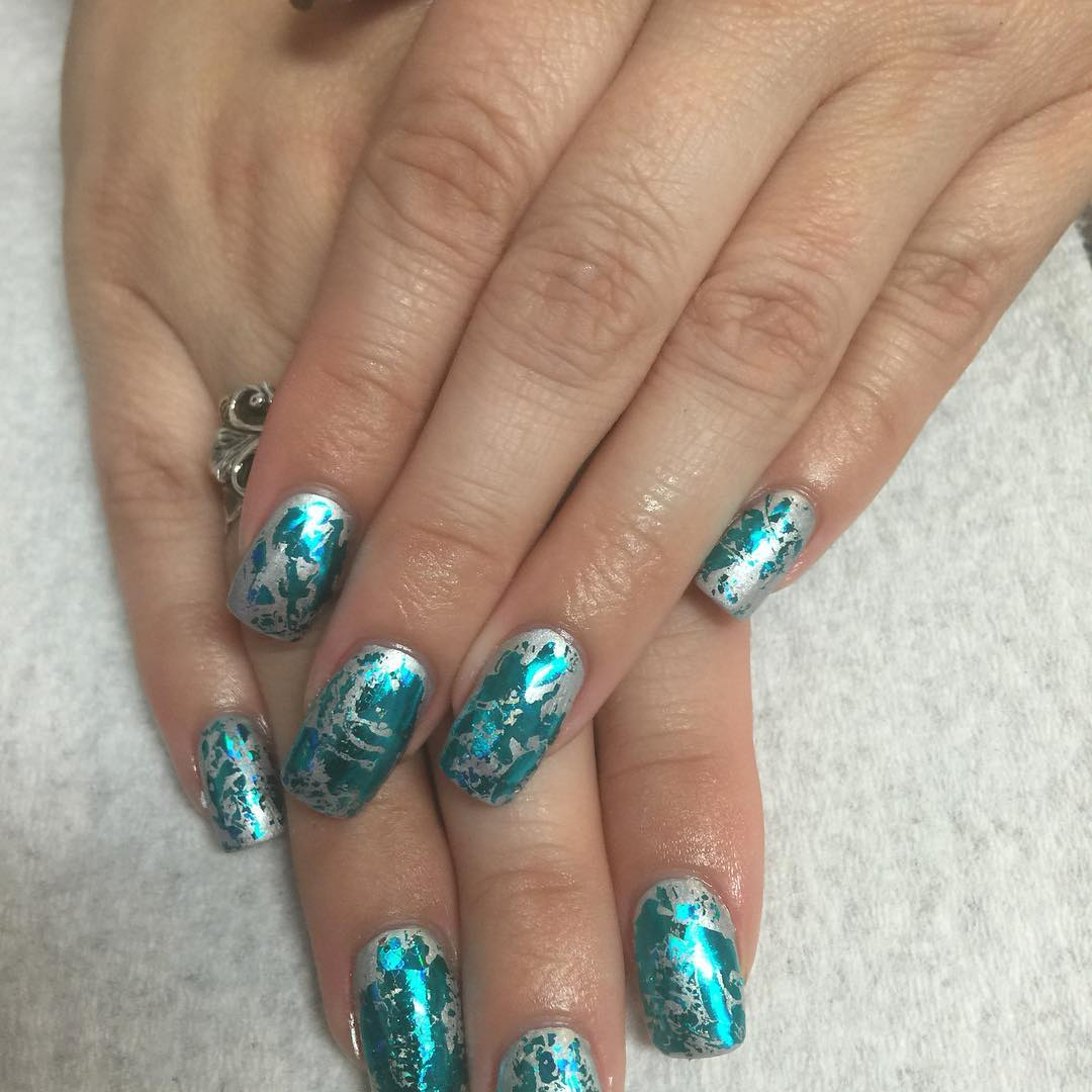 Light Blue Acrylic Nails Glitter