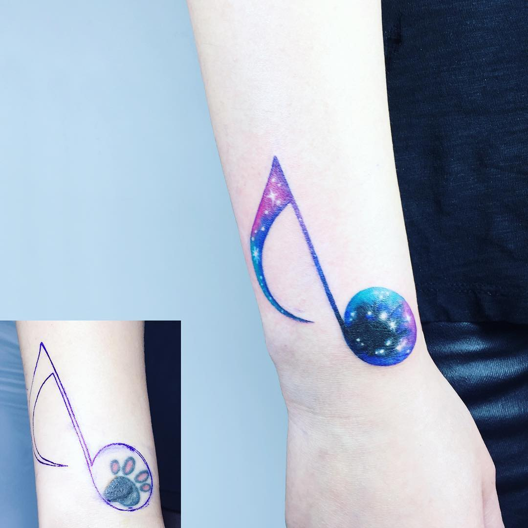 Blue & Pink Music Symbol Tattoo