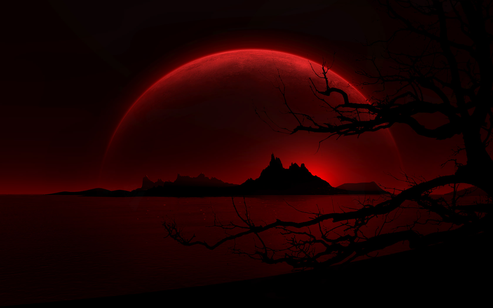 Dark Landscape Red Moon Wallpaper