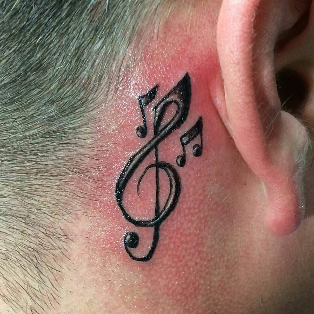 Tattoo design behind ear - Music Note Tattoo Behind Ear
