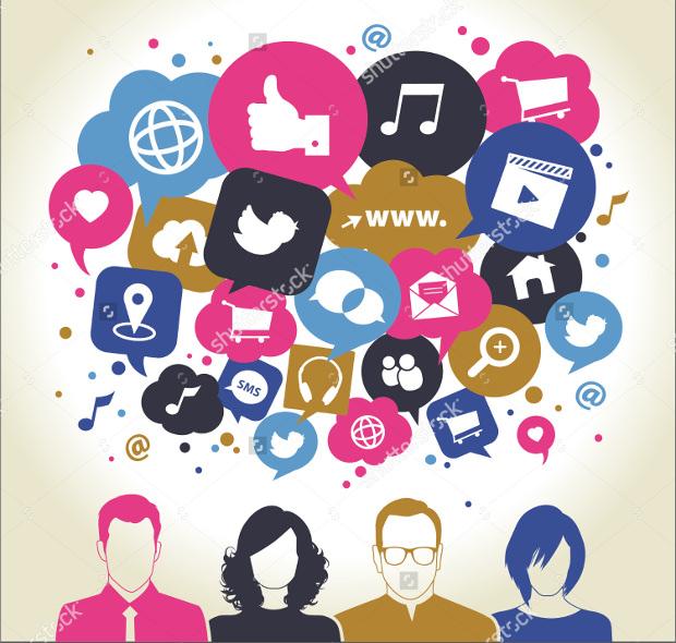 Social Media Icons in Speech Bubbles