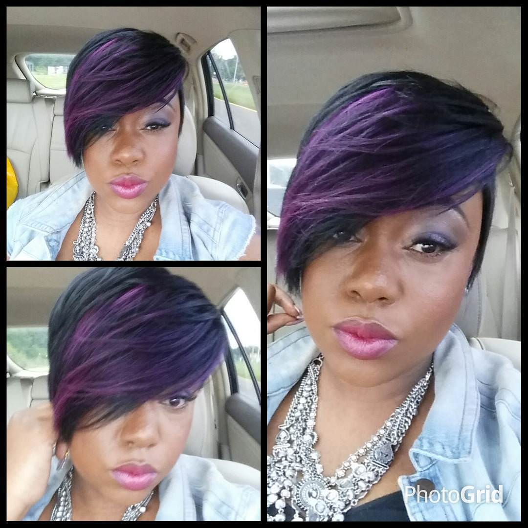 purple colored hair for black women