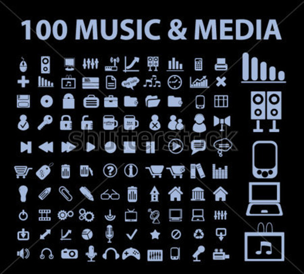 100 music and media icons on black background
