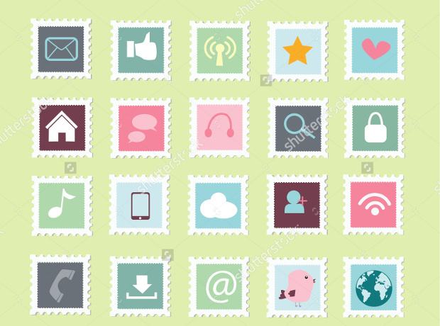 postage stamp icons of social media
