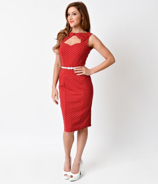 Unique_Vintage_1950s_Red_White_Dot_Magnolia_Stretch_Wiggle_Dress_2
