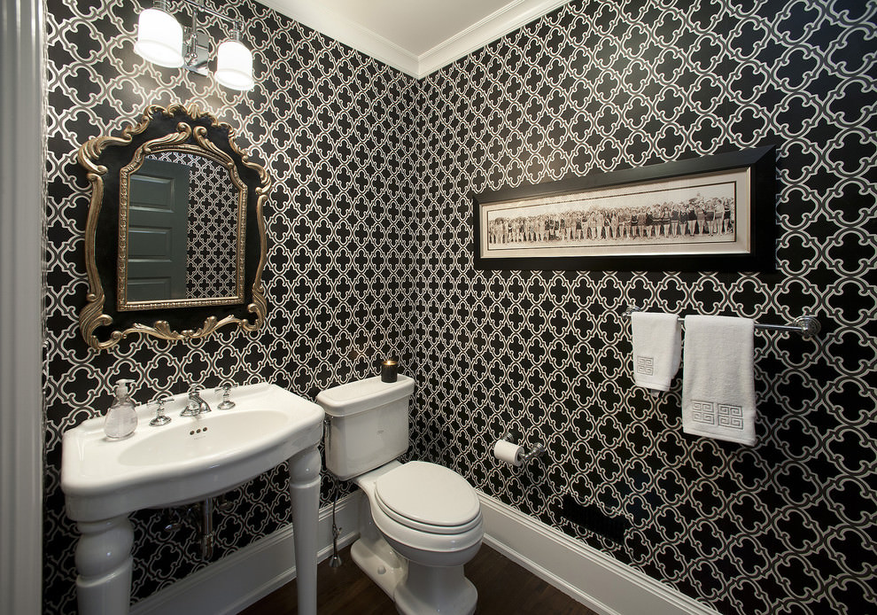 Bathroom With Black and Gold Dcor