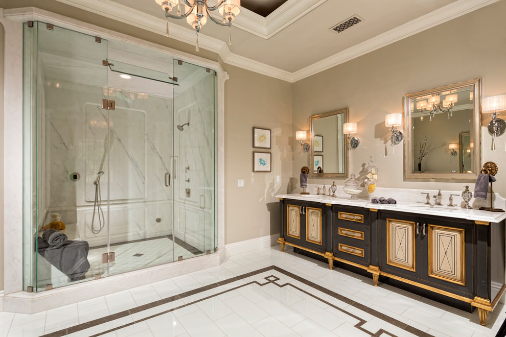 Bathroom With Black and Gold Cabinets