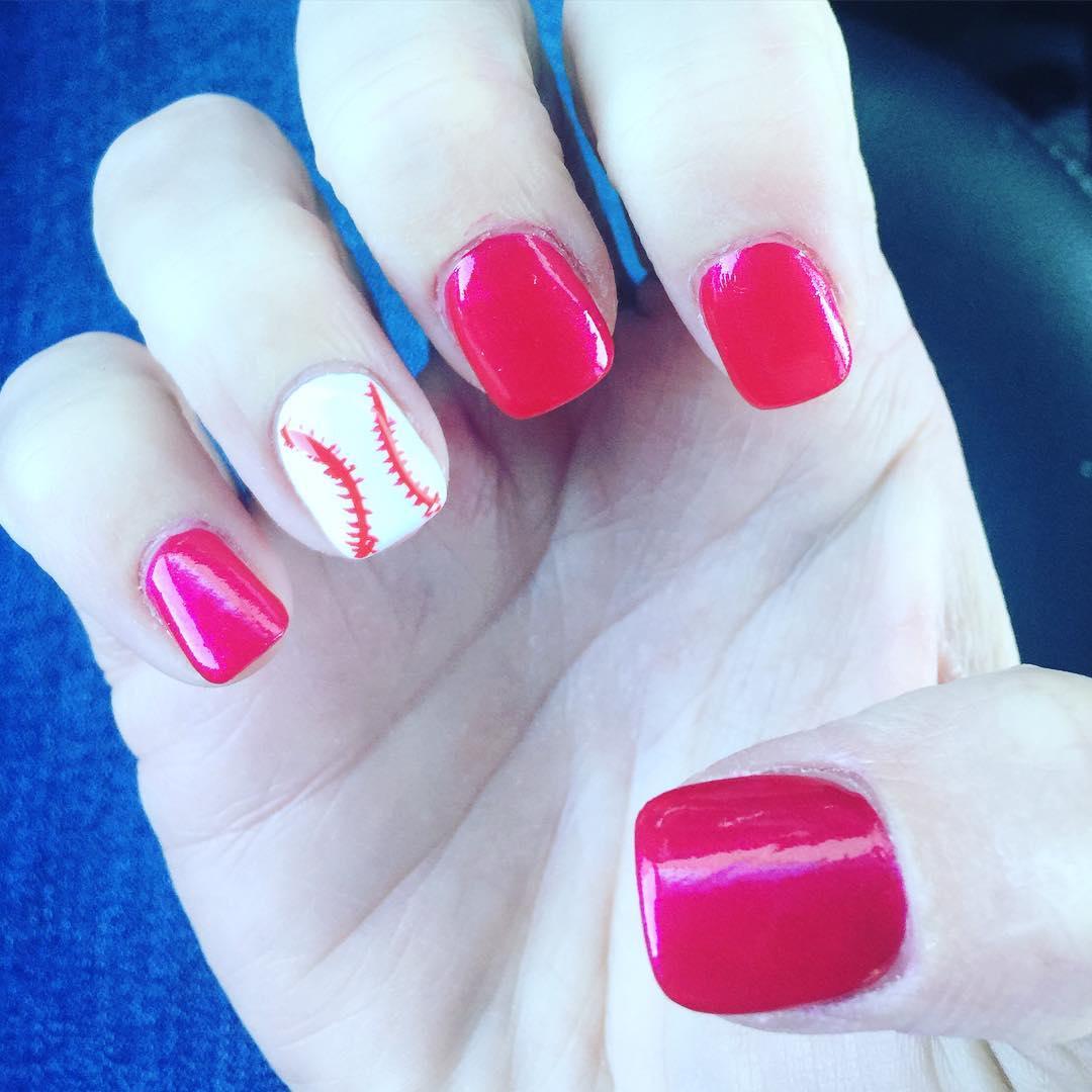 Glitter Pink & White Baseball Nails