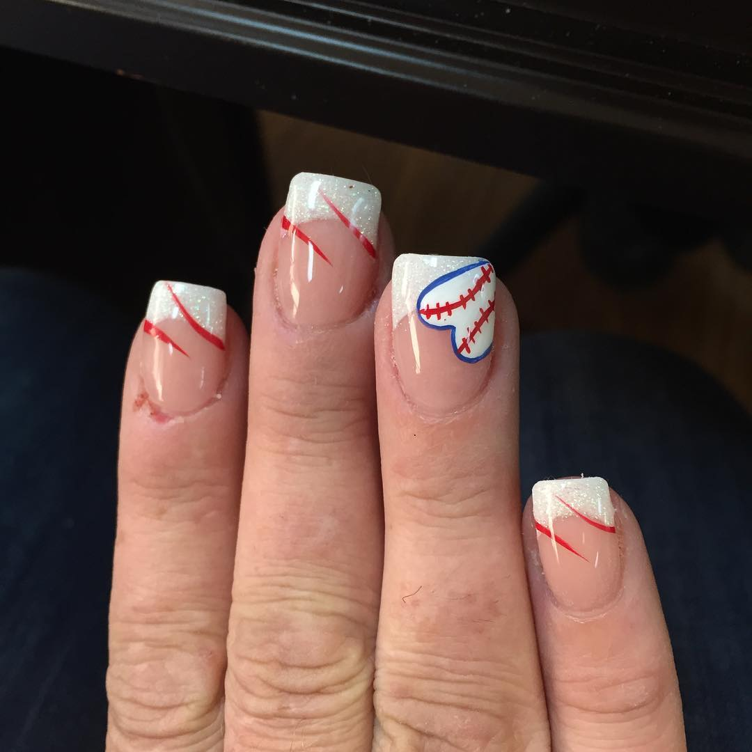 Love-BaseBall Nail Design - 28+Awesome Base Ball Nail Designs Design Trends - Premium PSD