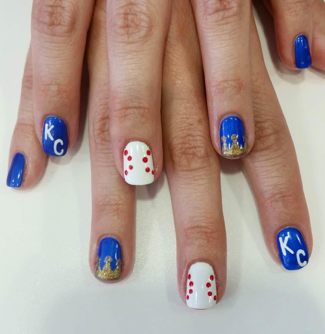 Blue Baseball Nail Design