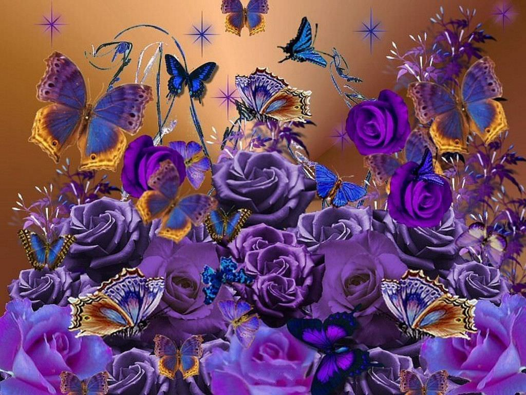 purple roses with butterflies background