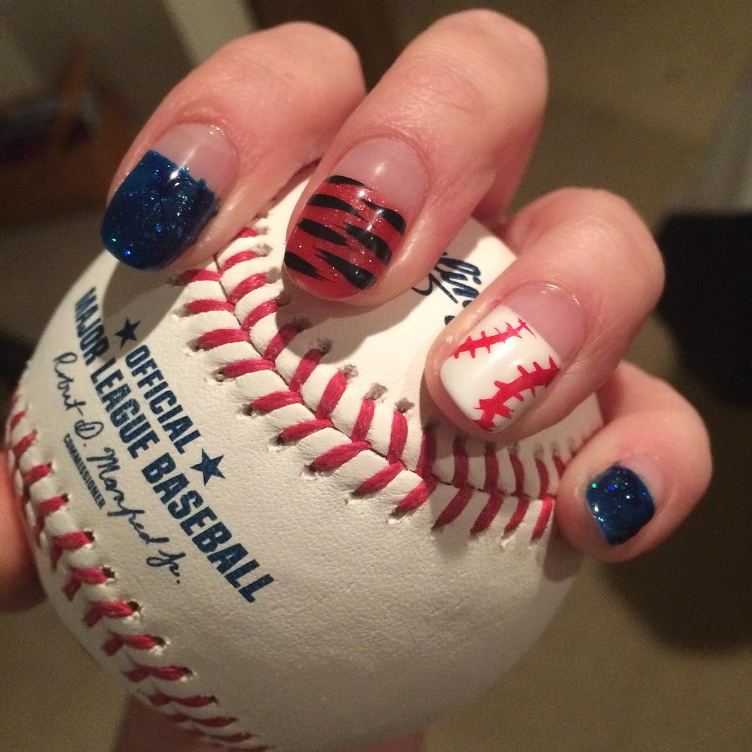 Classy Look Baseball Nail Design